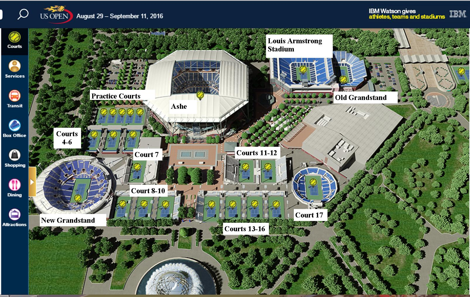 Us Open Tennis Courts Map Guide and Tips to Visiting the US Open | Moo's Tennis Blog